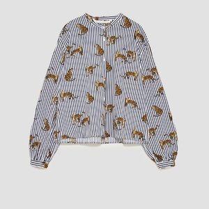Zara leopard print stripe button up